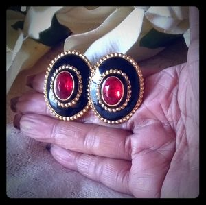 Vintage Faceted Oval Red Stone Statement Earrings